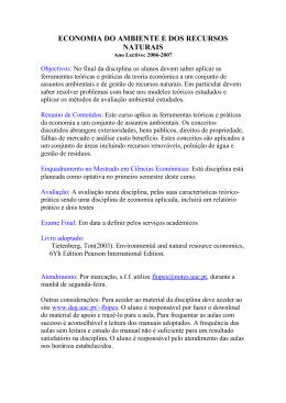 ECONOMIA DO AMBIENTE E DOS RECURSOS NATURAIS
