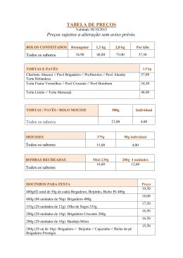 TABELA DE PREÇOS Preços sujeitos a alteração sem aviso prévio.