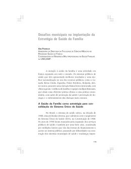 Desafios municipais na implantação da Estratégia - FEF