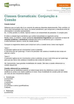Classes Gramaticais: Conjunção e Coesão