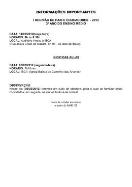 lista de materiais 3º em 2012