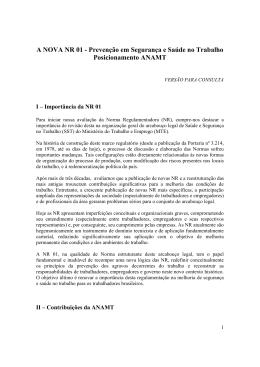 A NOVA NR 01 - Prevenção em Segurança e Saúde no