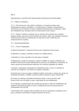 NR-33 SEGURANÇA E SAÚDE NOS TRABALHOS EM ESPAÇOS
