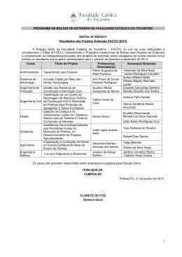 002_2013: Resultado dos Projetos de Extensão