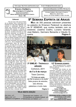 9ª SEMANA ESPÍRITA DE ARAXÁ - Folha Espírita Francisco Caixeta