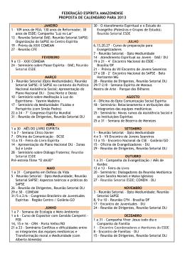 federação espírita amazonense proposta de calendário para 2013