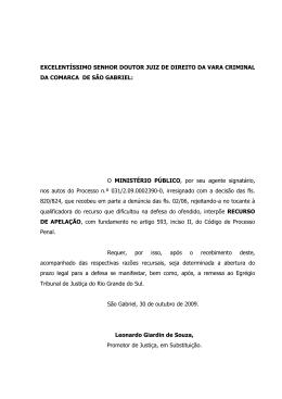COMARCA DE ROSÁRIO DO SUL - Ministério Público