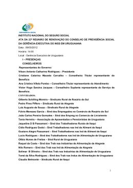 Ata da 23ª Reunião do CPS de Uruguaiana