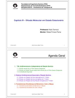 Difusão molecular em estado estacionário - Parte II