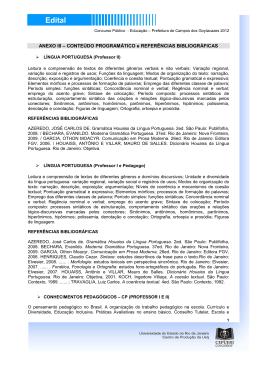 Conteúdo Programático e Referências Bibliográficas