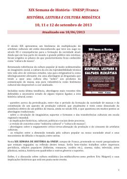 XIX Semana de História -‐ UNESP/Franca HISTÓRIA