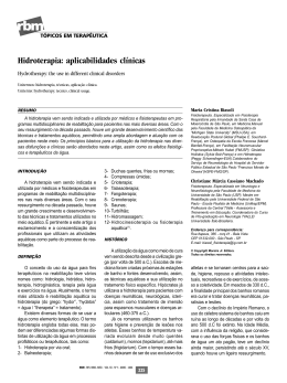 Hidroterapia: aplicabilidades clínicas