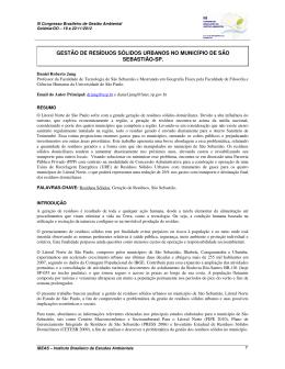 gestão de resíduos sólidos urbanos no município de são sebastião-sp.
