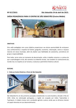 Nº 017/2015 São Sebastião 24 de abril de 2015. SAÍDA