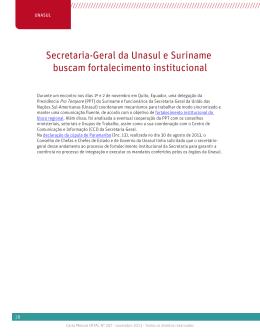 Secretaria-Geral da Unasul e Suriname buscam fortalecimento