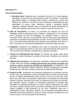 Informativo Nº 1 Tema: primeiros passos 1- Secretaria Geral