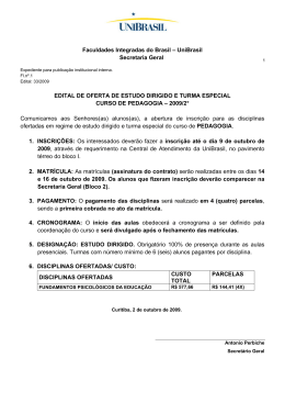Faculdades Integradas do Brasil – UniBrasil Secretaria Geral