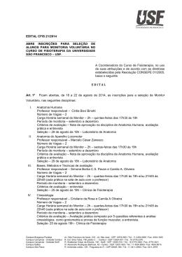 edital cfis 21-2014 - Universidade São Francisco