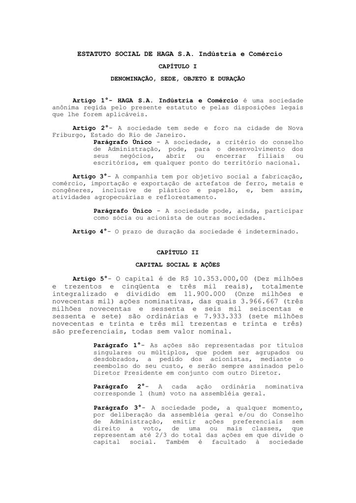 ESTATUTO SOCIAL DE HAGA S A  Indústria e Comércio Artigo 5