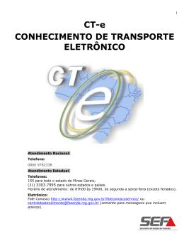 Cartilha CT-e - Conhecimento de Transporte Eletrônico