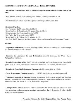 INFORMATIVO DA CATEDRAL SÃO JOSÉ, 04/07/2015