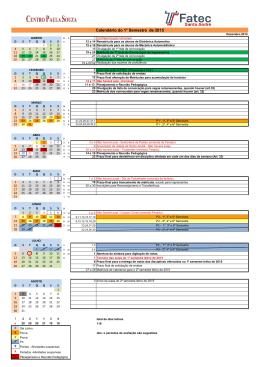 Calendário do 1° Semestre de 2015