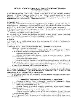 EDITAL DO PROCESSO SELETIVO DO CENTRO UNIVERSITÁRIO