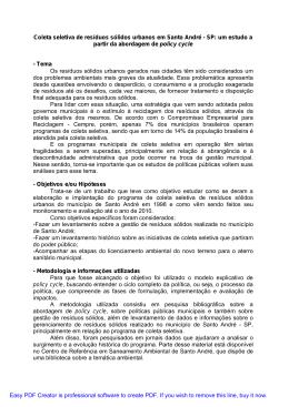 Coleta seletiva de resíduos sólidos urbanos em Santo André