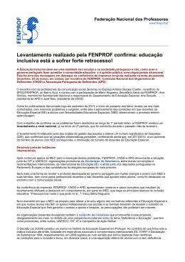 Levantamento realizado pela FENPROF confirma: educação