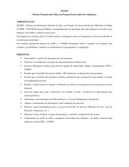 SISNEP - Sistema Nacional sobre Ética em Pesquisa