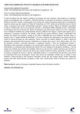 aspectos jurídicos e éticos na pesquisa em seres humanos