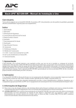 Back-UPS BZ1200-BR - Manual de Instalação e Uso