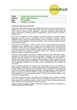 O peso da conta de luz na economia | Diário de Pernambuco +