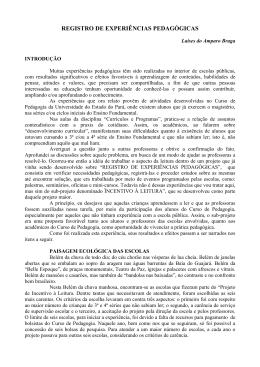 REGISTRO DE EXPERIÊNCIAS PEDAGÓGICAS