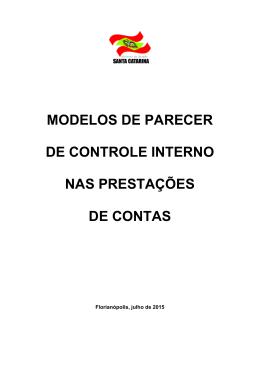 modelos de parecer de controle interno nas prestações de contas