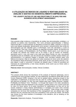 a utilização de índices de liquidez e rentabilidade na análise