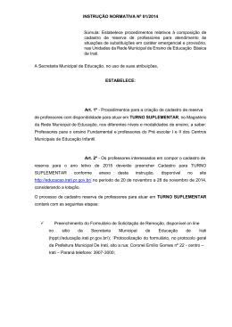 Leia a Instrução Normativa. - Secretaria Municipal de Educação