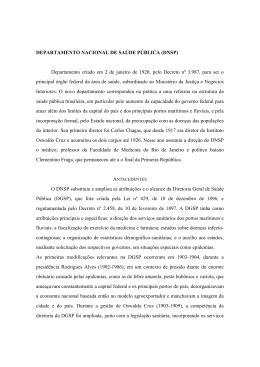 DEPARTAMENTO NACIONAL DE SAÚDE PÚBLICA