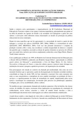 III CONFERÊNCIA MUNICIPAL DE EDUCAÇÃO DE