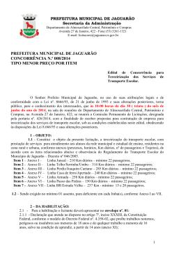 Concorrência 008 – 2014 – TRANSPORTE ESCOLAR