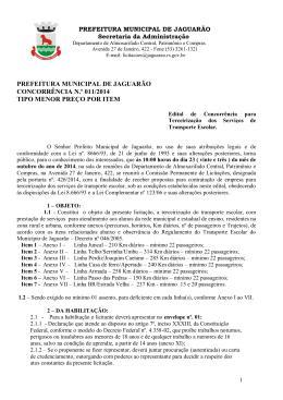 Edital Concorrência 011 – 2014 – TRANSPORTE ESCOLAR