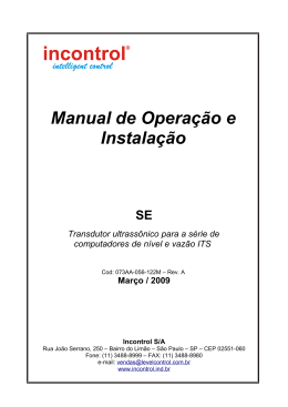 Manual do Sensor Ultrassônico para Medidor de Vazão e