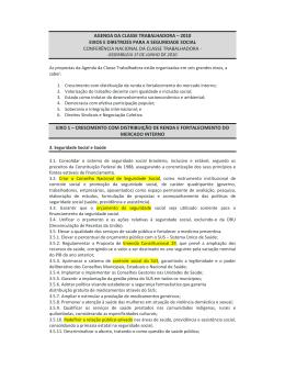 AGENDA DA CLASSE TRABALHADORA – 2010 EIXOS E