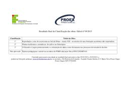 Resultado final de Classificação das obras /Edital nº 09/2015
