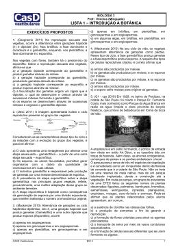 Lista 1 - Introdução à Botânica (ciclos