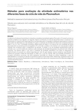 Métodos para avaliação da atividade antimalárica nas diferentes
