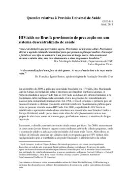 HIV/AIDS no Brasil: provimento de prevenção em um sistema