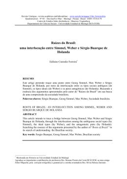 SÉRGIO BUARQUE DE HOLANDA: RAÍZES