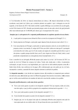 Época normal - Faculdade de Direito de Lisboa