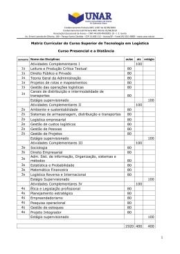 1 Matriz Curricular do Curso Superior de Tecnologia em